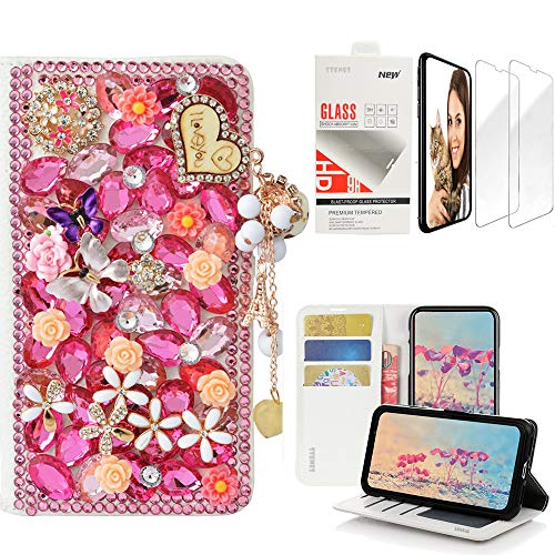 STENES Bling Wallet Case Compatible with iPhone Xs Max - 3D Handmade Heart Pendant Butterfly Flowers Design Leather Case with Wrist Strap & Screen Protector [2 Pack] - Pink