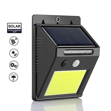 Luz Solar Exterior con Sensor de Movimiento, AOZBZ Impermeable 48 LEDs Focos Solares Lampara de