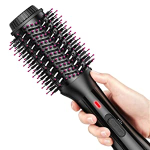 AEVO Hot Air Brush, Combination Hair Dryer Brush & Volumizer, 4-in-1 Hair Dryer, Styler, Curler, Straightener [Salon Styling] [Ionic Dryer] [Ceramic] [Electric] [Portable] [3 Modes], Black