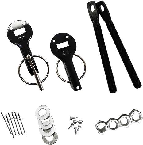 uxcell Racing Car Clasps Hood Lock Pin Bonnet Kit Black