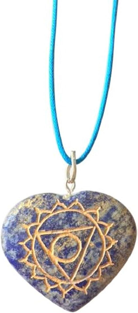 Piedras preciosas naturales artesanales de protección contra miedos, hechas a mano, forma de corazón con símbolo de chacra, colgante, con caja de regalo