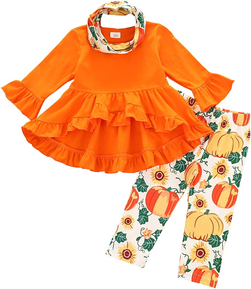 T TALENTBABY Toddler Halloween Outfit Claus Infant Ruffle Pumpkin T-Shirt Tops Flared Pants 2PCS Baby Playsuit Nightmare Bodysuit Romper