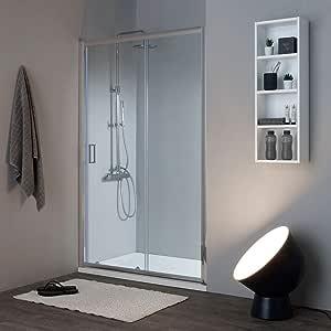 mampara de ducha Plegable de 130 cm, Cristal Transparente, Reversible | New Jade: Amazon.es: Bricolaje y herramientas