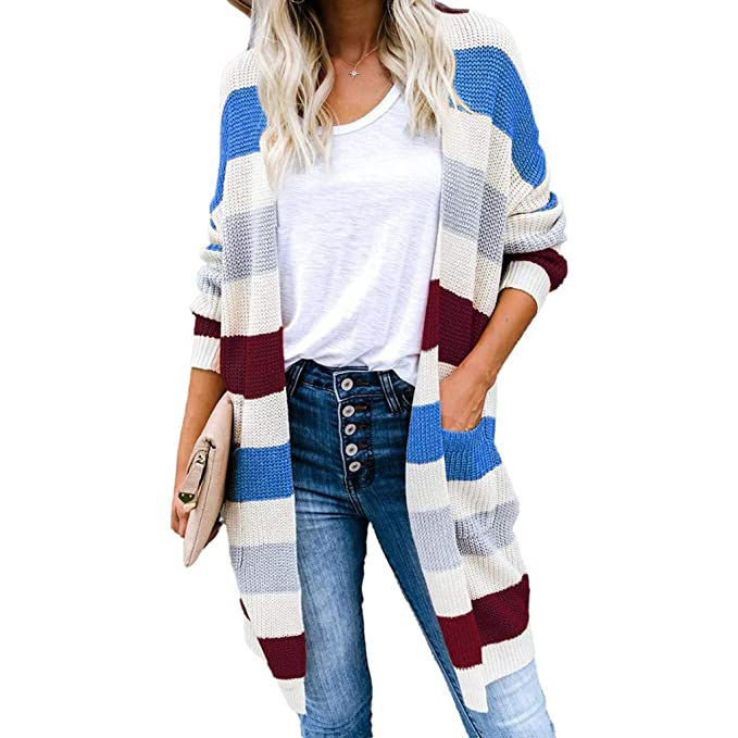 Rainbow Button Casual Knitted Outerwear Cardigan Womens Long Sleeve Color Block Sweater