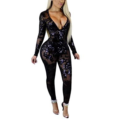 d80aa70a2559 Joseph Costume Womens Sexy See Through Sequin Deep V Neck Long Sleeve One  Piece Bodycon Jumpsuit
