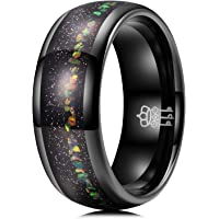 THREE KEYS JEWELRY Mens Tungsten Rings 8mm Galaxy Series Imitated Meteorite Opal Inlay Unisex Wedding Bands