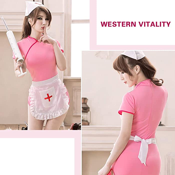 658a561d5 YOMORIO Naughty Nurse Costumes Sexy Anime Cosplay Lingerie Chinese Cheongsam  Maid Uniform. Back. Double-tap to zoom