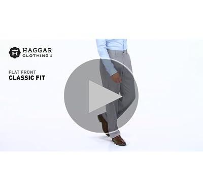 Haggar Men's Cool 18 Hidden Expandable-Waist Plain-Front Pant