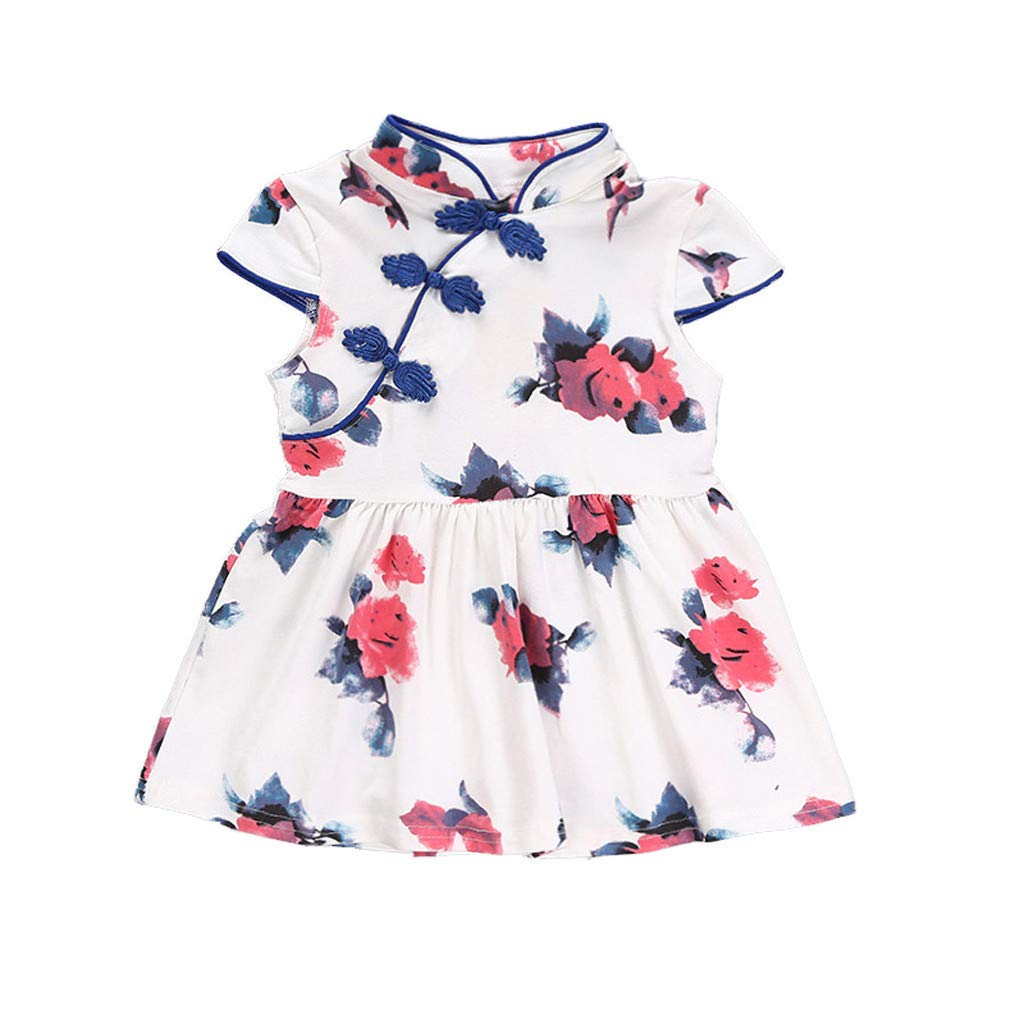 Cute Baby Clothes Toddler Baby Girls Kids Flowers Cheongsam Floral Party Princess Dresses