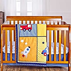 Dream On Me On The Go 3 Piece Reversible Full Size Crib Set Boat, Car, Rocket, Engine