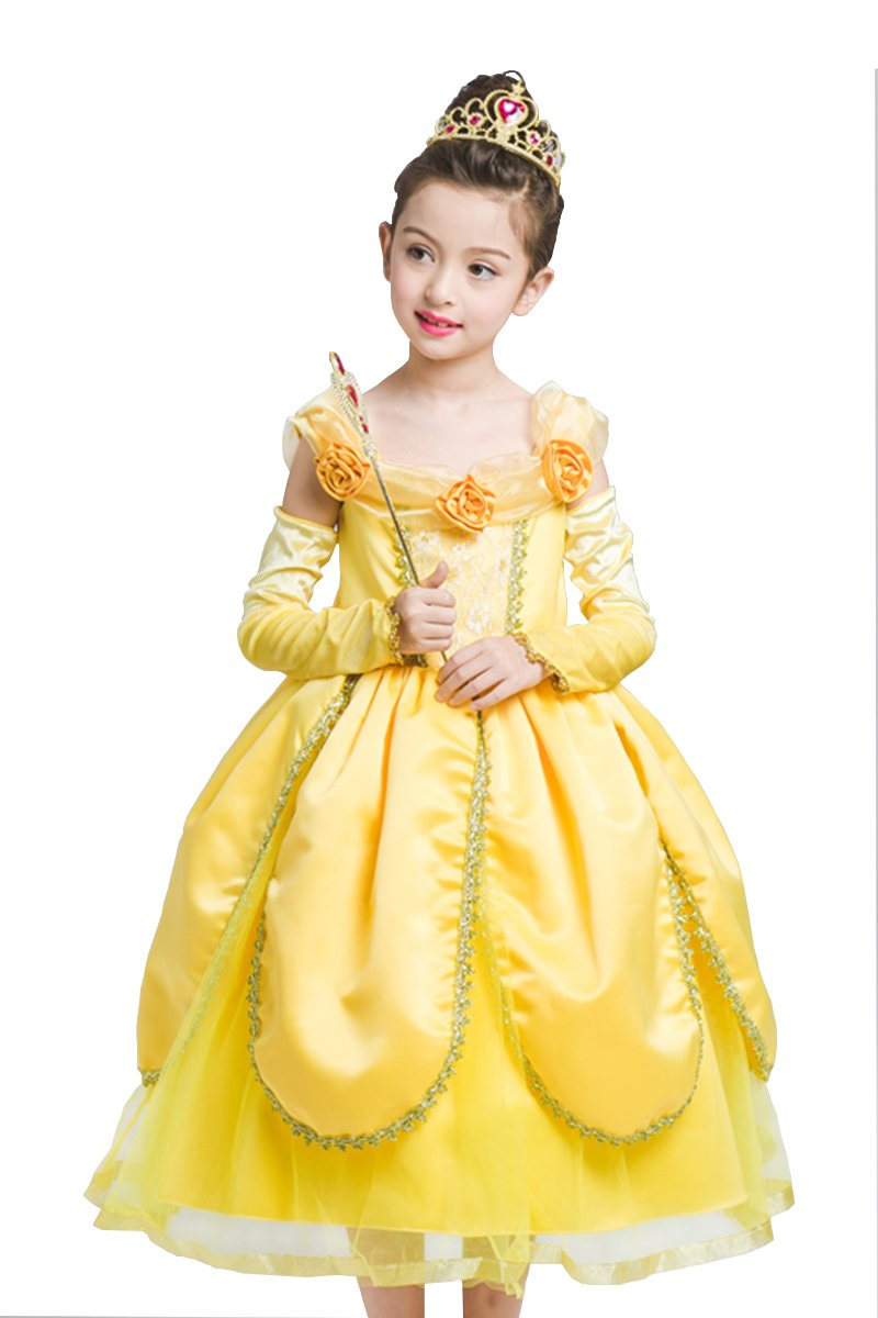 PRINCESS IBEAUTY Princess Belle Costume Deluxe Party Fancy Dress Up For Girls S3015 (4-5Y(130), Yellow)