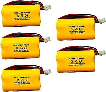 5 Pack AA900MAH Unitech 6200RP LEDR-1 Lowes 253799 Exitronix 10010037 3.6v 900mAh Ni-CD Battery Pack Replacement for Emergency//Exit Light TOPA 3.6V AA900mAh Max Power B2-0031 MH468886