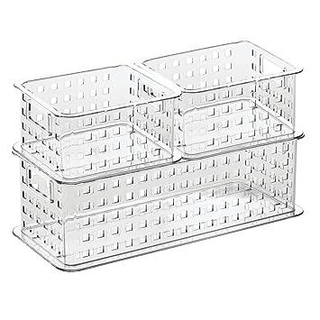 slide storage amazoncom interdesign stack slide storage baskets set of 3