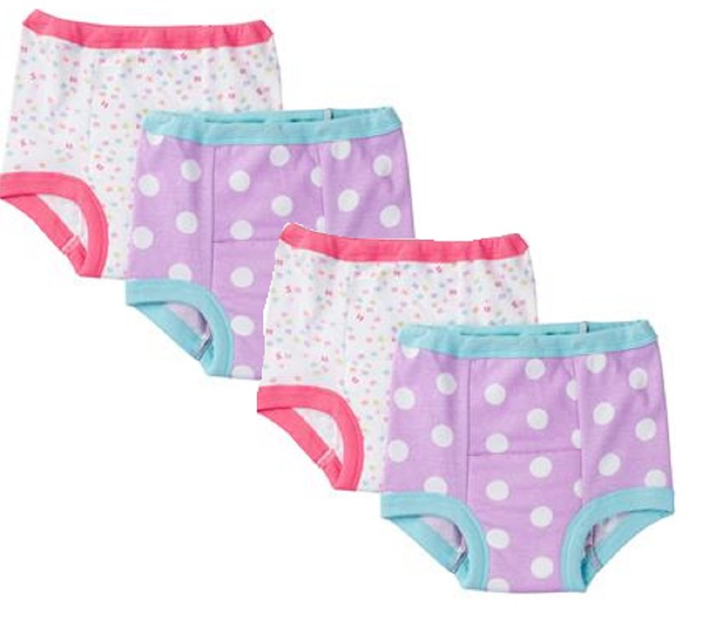 Gerber Baby and Toddler Girls' 4 Pack Training Pants (18 Months, butterfly)