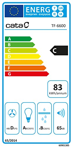 Cata | Campana de extracción telescópica | Modelo: TF 6600 DURALUM | 2 niveles de extracción | Panel de Control Mecánico | Acabado en inox | Clase de eficiencia energética: C: 136.27: Amazon.es: Grandes electrodomésticos
