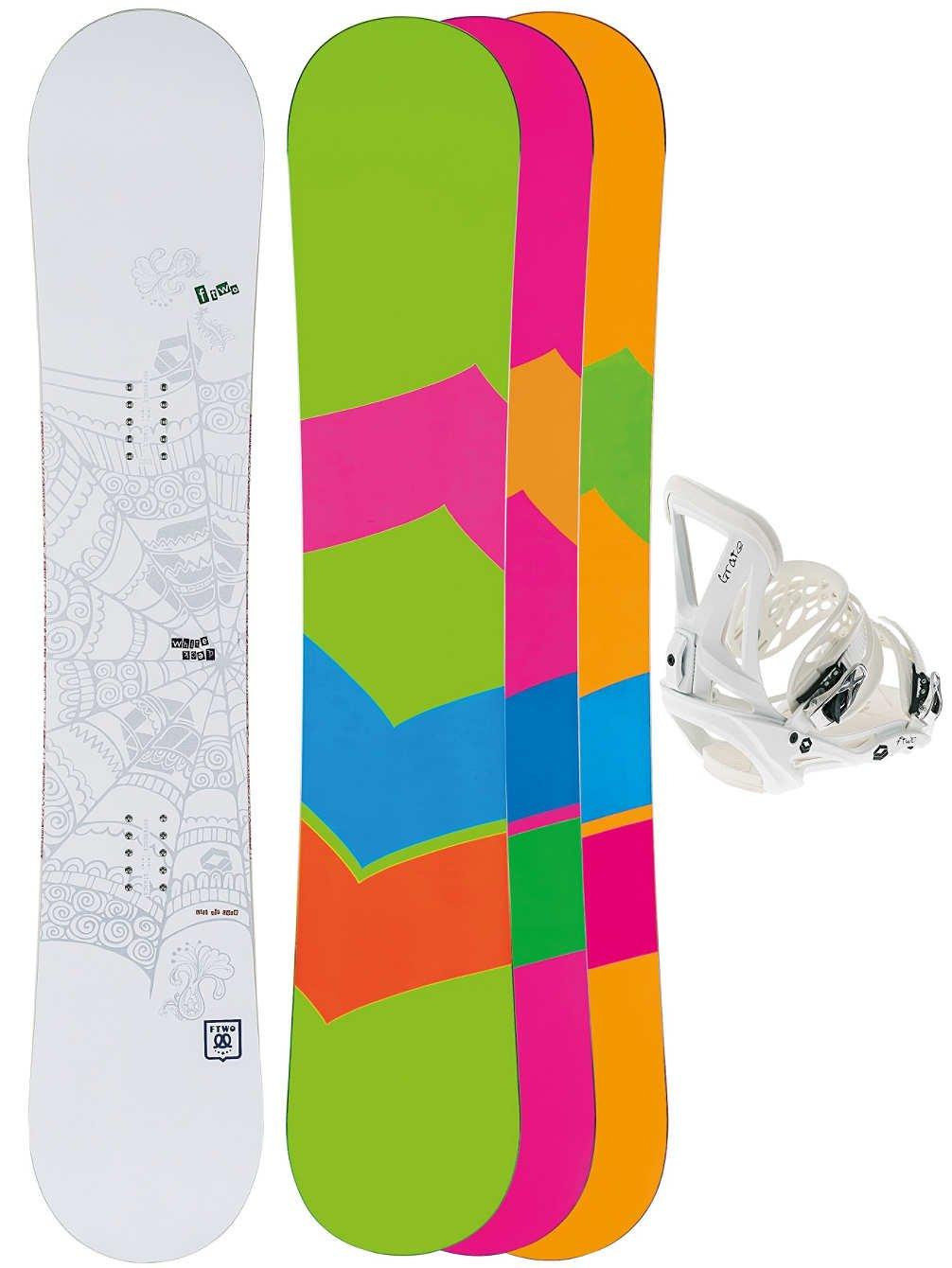 Freestyle Snowboard de las mujeres F2 Whitedeck 152 + rejilla Lady M blanco 2015, uni, unisex: Amazon.es: Deportes y aire libre