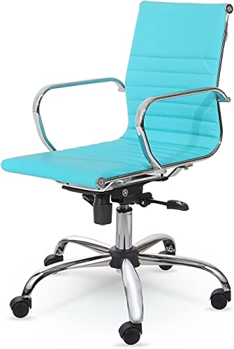Winport Furniture Leather, Office Desk Chair, Tilt Control, Turquoise
