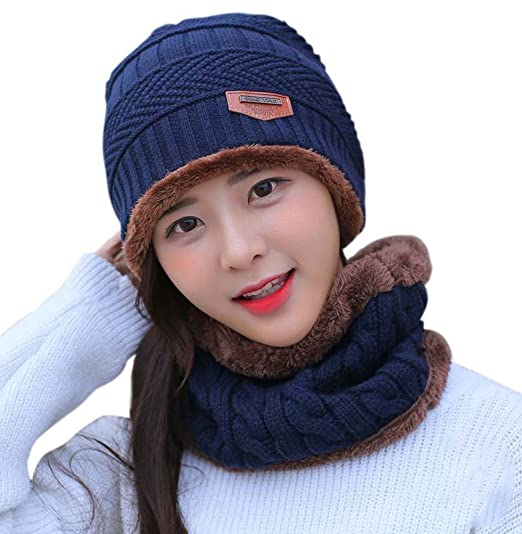 5d500352a6479 HINDAWI Slouchy Beanie Winter Hats for Women Windproof Scarf Warm Snow Knit  Skull Cap Navy