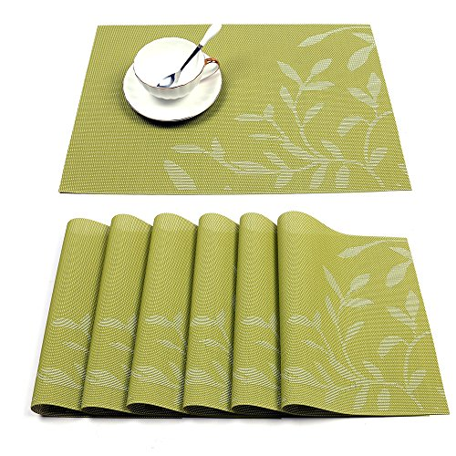 HEBE Placemat, Placemats Set of 6 Washable Floral Placemats for Dining Table Heat Resistant Woven Vinyl Kitchen Table Mats Placemat Wipe Clean