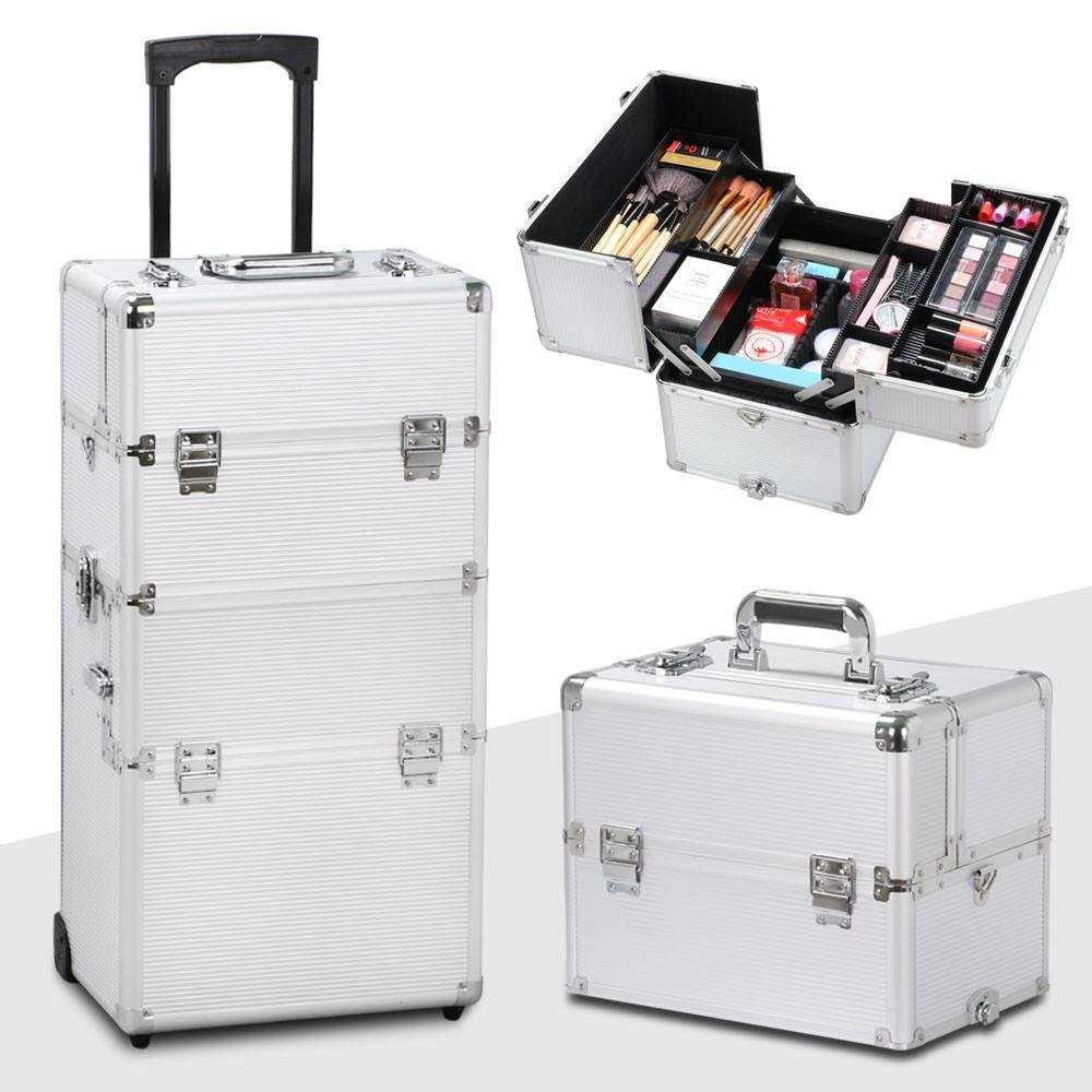 Yaheetech 3 in 1 Professional Aluminum Rolling Makeup Train Case
