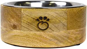 Brave Bark GF Pet Mango Wood Dog Bowl - Removable Stainless Steel Insert, Dishwasher Safe, Food or Water Bowl for Dog, Cat, or Pet of Any Size, Stylish Design for Home or Office