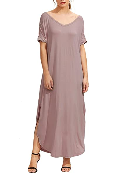 ced4954498 URBAN K Womens V Neck Split Side Comfy Long Causal Beach Maxi Dress with  Pockets at Amazon Women's Clothing store: