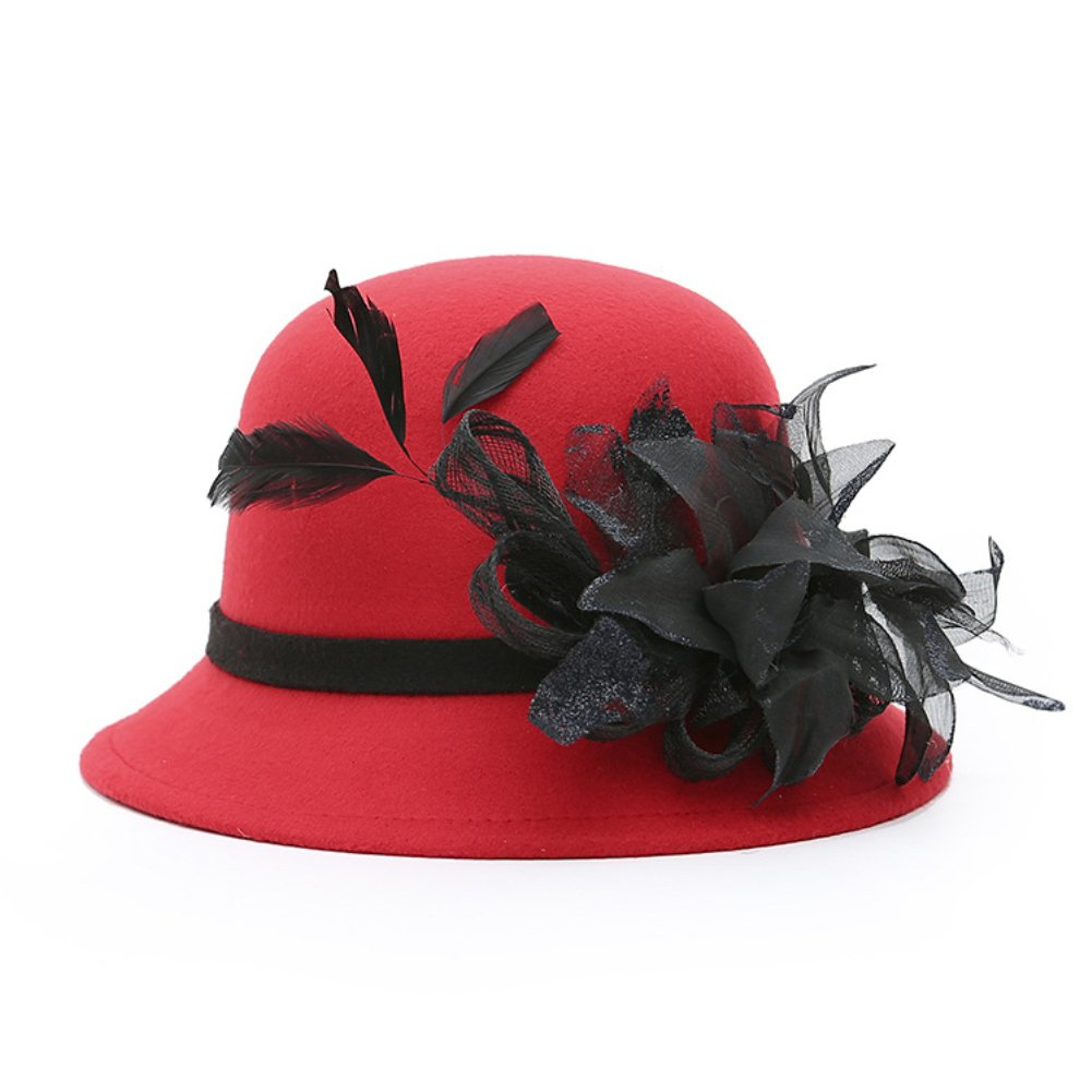 good01 Women Noble Gauze Feather Bowler Church Wedding Tea Party Formal Hat Bucket Hat
