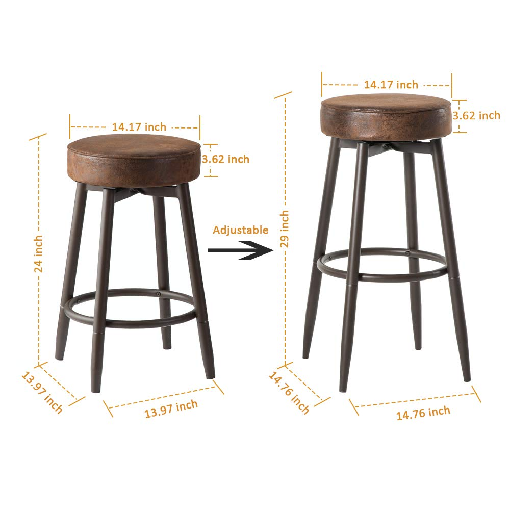 Prime Dyh Metal Bar Stools Set Of 2 Swivel Chocolate Kitchen Counter Stool Adjustable Industrial Round Barstool Brown Bar Chairs 24 Or 29 Inch For Machost Co Dining Chair Design Ideas Machostcouk