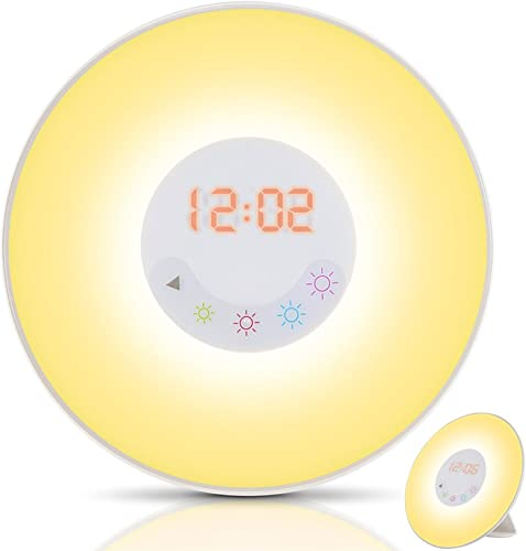 Wake-Up Light Alarm Clock, Nature Night Light with Sunrise Simulation FM Radio,7 Sounds,5 Colors Atmosphere Lamp,4 Brightness Bedside Lamp and Touch Control Multi-Functional for Bedroom,Nursery