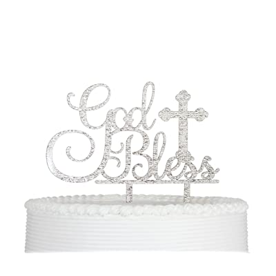 Qttier God Bless Cake Topper for Baptism Christening Dedication or First Communion Baby Shower Decoration Supplies Acrylic Sign Decor ( Silver ): Toys & Games