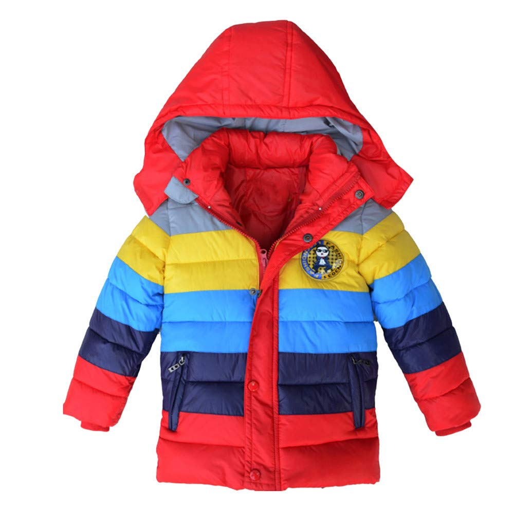 Children Hooded Coat Vovotrade Toddler Baby Boys Girls Long Sleeve Hoodie Jacket Thick Padded Up Rainbow Coat Patchwork Waterproof Winter Jacket Clothes