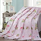 """KFZ Cotton Quilt Comforter Bedspread for Bed Breathable XR 3 sizes with Cartoon Animals Flamingo Naughty Pig Cute Monkey Designs One Piece (Flamingos,Pink, Full,71""""x86"""")"""