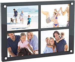 NIUBEE 4 Opening 5x7 Collage Picture Frame, Acrylic Wall Hanging and Desktop Photo Display with Mat (Black)