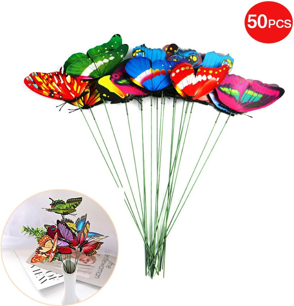 50pcs, Multicolor Christmas Tree Decoration Patio Plant Pot Flower Bed Butterfly Stakes Waterproof Garden Butterfly Ornaments Butterfly Garden Stakes Decor for Indoor//Outdoor Yard