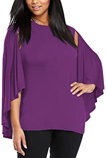 e66ae84db6b80d Romwe Women s Elegant Cape Cloak Sleeve Round Neck Party Top Blouse ...