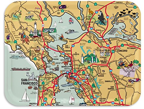 Trays4Us San Francisco 16x12 inches (Large) Map Serving Tray - 70+ Different Designs -