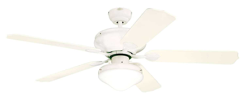 Westinghouse Lighting 7809620 Verandah Breeze II Two-Light 52-Inch Five-Blade Indoor/Outdoor Ceiling Fan, White with Opal Teardrop Glass