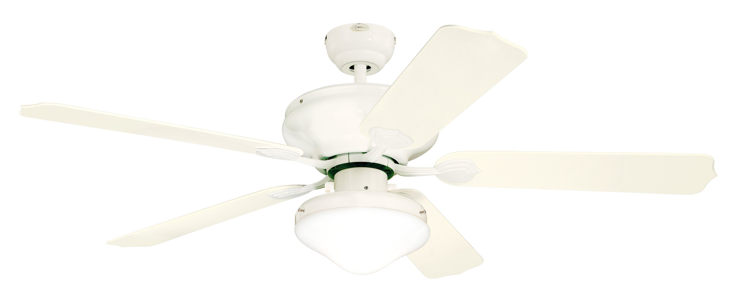 Westinghouse Lighting 7809620 Verandah Breeze II Two-Light 52-Inch Five-Blade Indoor/Outdoor Ceiling Fan, White with Opal Teardrop Glass by Westinghouse