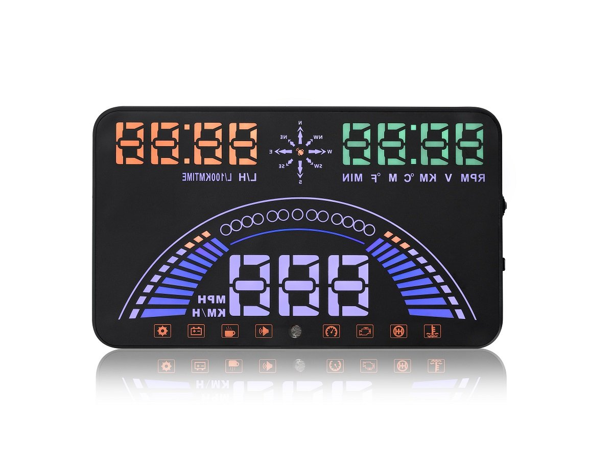 YICOTA Car HUD Head Up Display Dual System OBD y GPS 5.8 'proyector de parabrisas (S7) EA1866