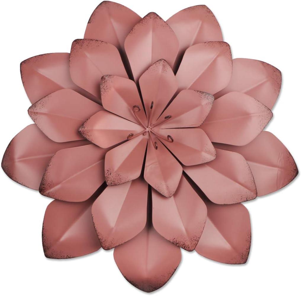YiYa 33CM Decoración de Pared de Flores de Metal Múltiples Capas Arte de Pared de Flores Decoraciones de Arte de Pared Colgante para balcón Patio Porche Dormitorio Sala de Estar Jardín (Rojo Oscuro)