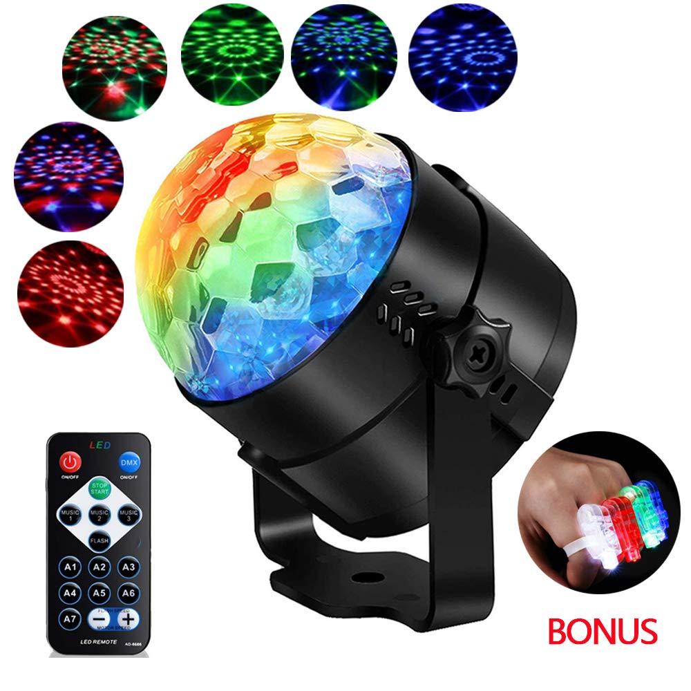 Upgraded 6 Colour Disco Lights, YANX 2019 Mini Stage Light Rotating Strobe  Light Sound Activated DJ Lights Crystal Magic Disco Ball Light Party Lights