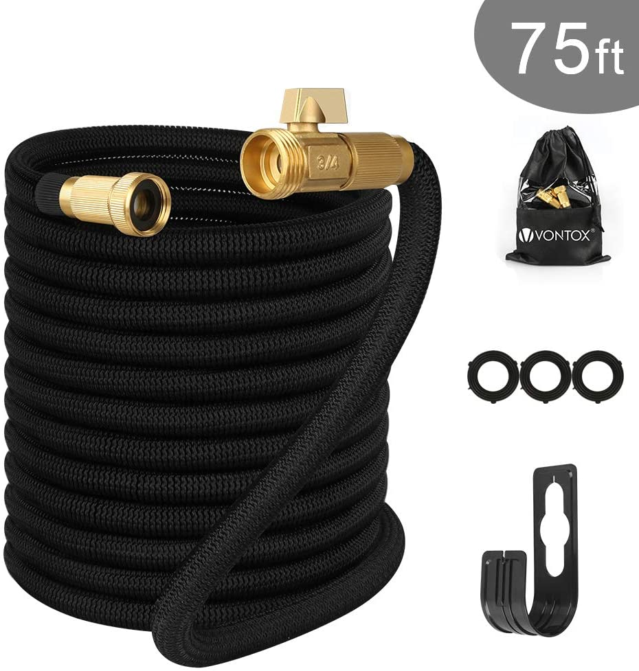 V VONTOX Garden Hose (75 Feet) Upgraded Expandable Water Pipe with Double Latex Core, Durable Flexible Water Hose, 3/4 Inch Solid Brass Connectors, Easy Dry Storage Bag and Durable Holder