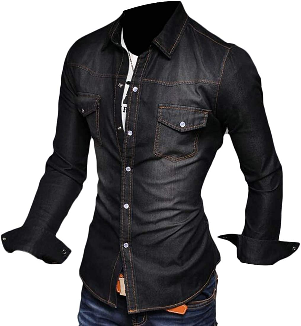 heymoney Men Casual Shirt Cotton Long Sleeve Button Down Dress Shirt