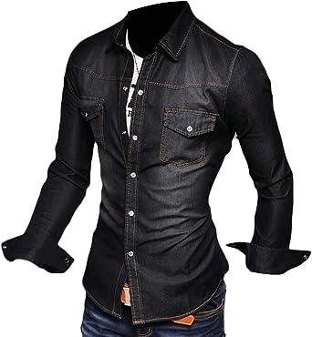 SOWTKSL - Camisa Vaquera de Manga Larga para Hombre Negro Negro (M: Amazon.es: Ropa y accesorios