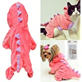 Pet Plush Outfit Dinosaur Costume with Hood for Small Dogs & Cats Jumpsuit Winter Coat Warm Clothes