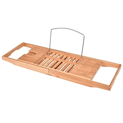 Amazon.com: Giantex Bamboo Bathtub Caddy with Extending Sides ...