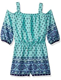 My Michelle Big Girls' Printed Cold Shoulder Romper with...