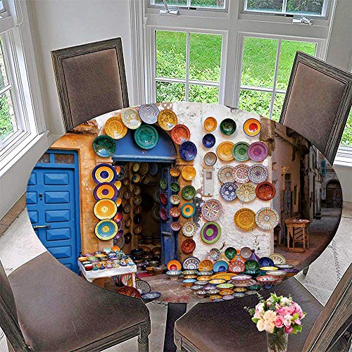 "Luxury Round Table Cloth for Home use Moroccan Faience Pottery Dishes on Display in an Alley Outside for Buffet Table, Holiday Dinner 50""-55"" Round (Elastic Edge)"