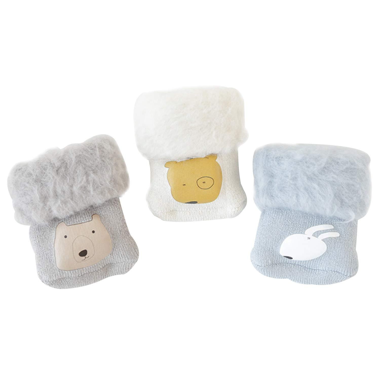 3 Pairs Unisex Baby Super Soft Terry Turn Cuff Socks Terry Cartoon Pattern Cotton Socks