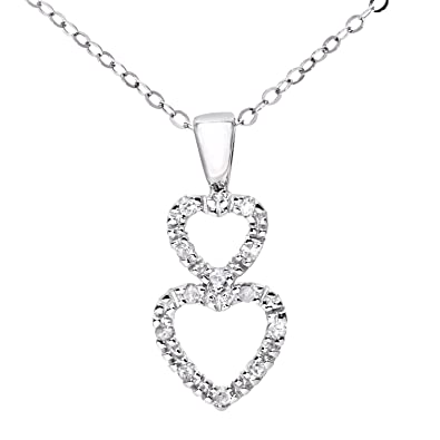 Naava Women's 9 ct White Gold Pave Set Diamond Double Heart Pendant and Chain Necklace of 46 cm Cqkv0b8T